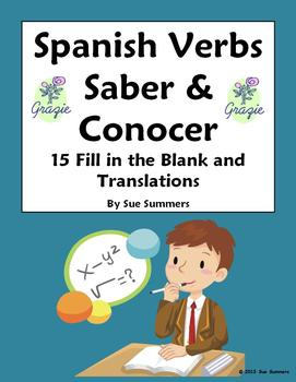 Spanish Verbs Saber and Conocer 15 Fill in the Blank and T