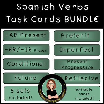 Spanish Verbs Task Cards BUNDLE! 8 sets!