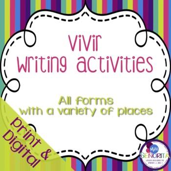 Spanish Vivir with Places Writing Activities