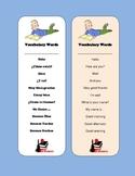 Spanish Vocabulary Bookmark