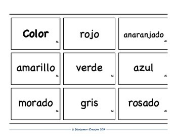 Spanish Vocabulary Card Set