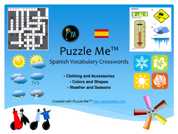 Spanish Vocabulary - Clothing, Color and Weather Crossword