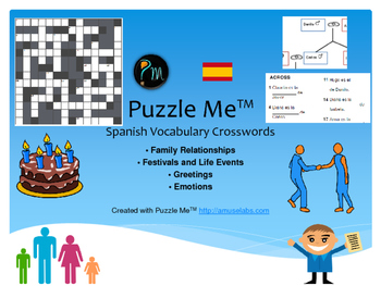 Spanish Vocabulary - Family, Greetings, Emotions Crossword