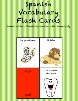 """Spanish Vocabulary Flash Cards (Complete Set) - 2.5"""" by 3."""