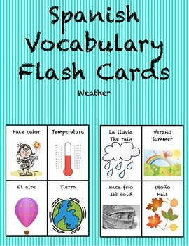 "Spanish Vocabulary Flash Cards (Weather) - 1.85"" by 2.5"" Small"