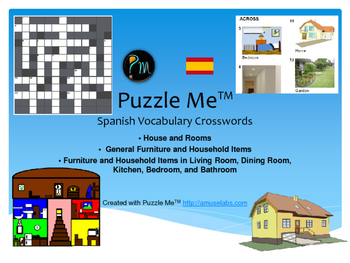Spanish Vocabulary - House and Rooms - Furniture Crossword