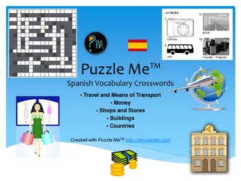 Spanish Vocabulary - Travel, Buildings and Money Crossword