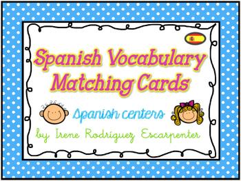 Spanish Vocabulary Matching Cards Game