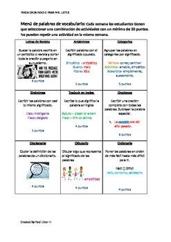 Spanish Vocabulary Menu de actividades para tarea o estaciones