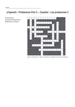 Spanish Vocabulary - Professions Part 2 Crossword Puzzle