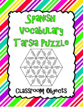 Spanish Vocabulary Tarsia Puzzle: Classroom Objects