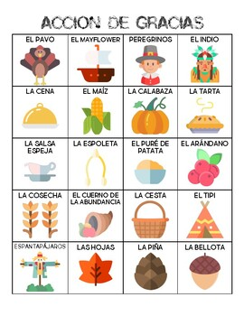 Spanish - Vocabulary - Thanksgiving