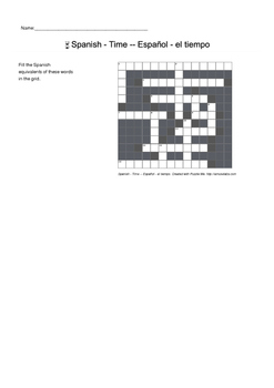 Spanish Vocabulary - Time Crossword Puzzle