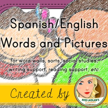 Spanish Vocabulary Words with English Translations and Clipart