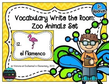 Spanish Vocabulary Write the Room: Zoo Animals Set