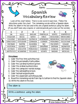 Back to School Spanish Vocabulary and Grammar Review with