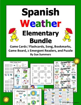 Spanish Weather Bundle for Elementary - Game Cards, Board