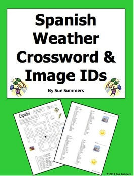Spanish Weather Crossword Puzzle Worksheet and Vocabulary