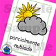 Spanish Weather Flash Cards. Hot, cloudy, typhoon, tornado