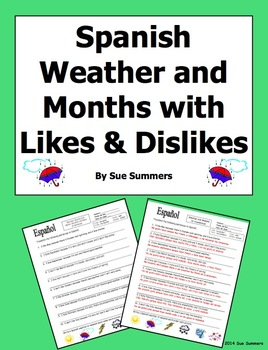 Spanish Weather, Months, and Seasons with Likes and Dislik