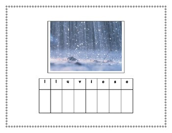 Spanish Weather Theme Word Building
