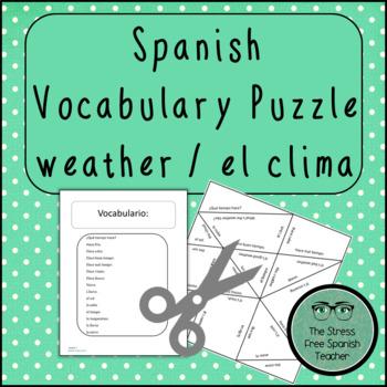 Spanish Weather Vocabulary, Matching Squares Puzzle