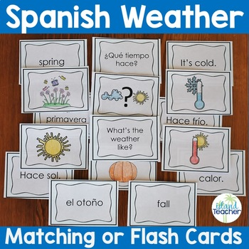 Spanish Weather and Season Flash Cards Matching Game