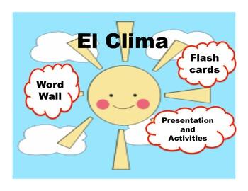 Spanish Weather-el clima presentation, word wall, student