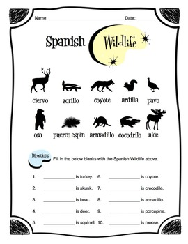 Spanish Wildlife Worksheet Packet