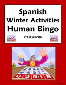 Spanish Winter Activities Human Bingo Speaking Activity