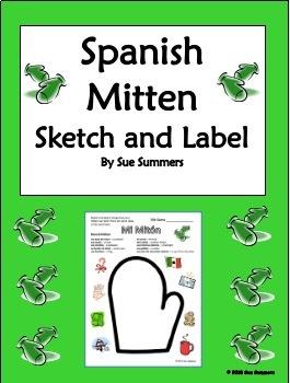 Spanish Winter Mitten Sketch & Label - Mi Miton
