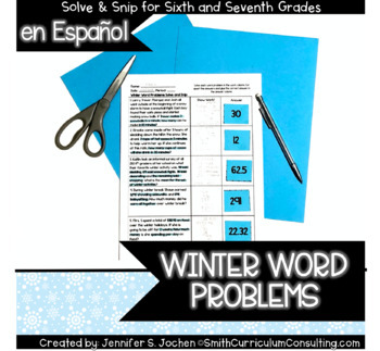 Spanish Winter Word Problems Solve and Snip- Common Core and TEKS