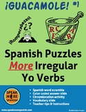 Spanish Word Puzzles with Present Irregular Yo Verbs.  Rom
