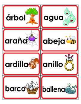 Spanish Word Wall A-Z word cards with pictures & Red borde