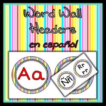 Spanish Word Wall Alphabet in Rainbow