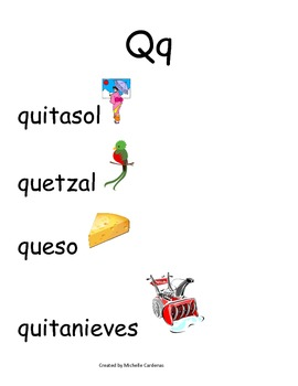 Spanish Word Wall- Letter Qq