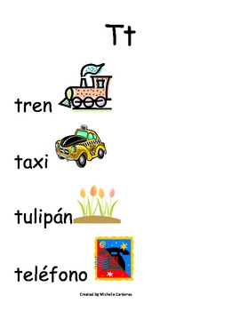 Spanish Word Wall- Letter Tt