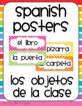 Spanish Word Wall Posters (Los objetos de la clase)