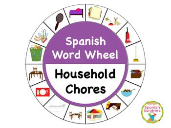 Spanish Word Wheel:  Household Chores (Quehaceres)