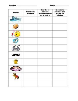 Spanish Word Work