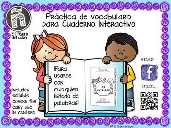 Spanish Word Work Tabs - PLUS Editable Covers - Pestañas d