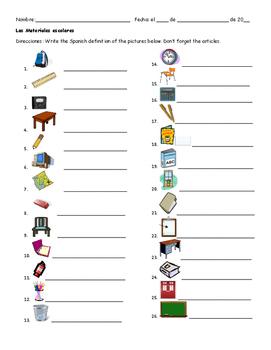 Spanish Worksheet: Class Materials/las materials escolares