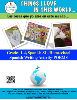 Earth Day Spanish Writing Activity- Poem Book Grades 1-4;