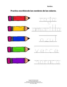Spanish Writing Practice - ¡Los Colores! / Colors
