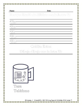 Spanish Writing:  Syllables With Letter T