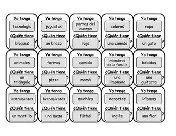 """Spanish """"Yo Tengo, Quien Tiene..."""" (""""I have, Who Has..."""")"""