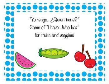 """Spanish """"Yo tengo....¿Quién tiene?"""" I have...who has? for"""