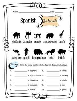 Spanish Zoo Animals Worksheet Packet