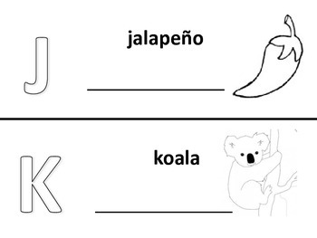 Spanish alphabet book pages letters j and k, Spanish alfabeto