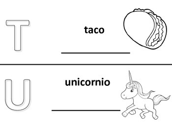 Spanish alphabet book pages letters t and u, Spanish alfabeto